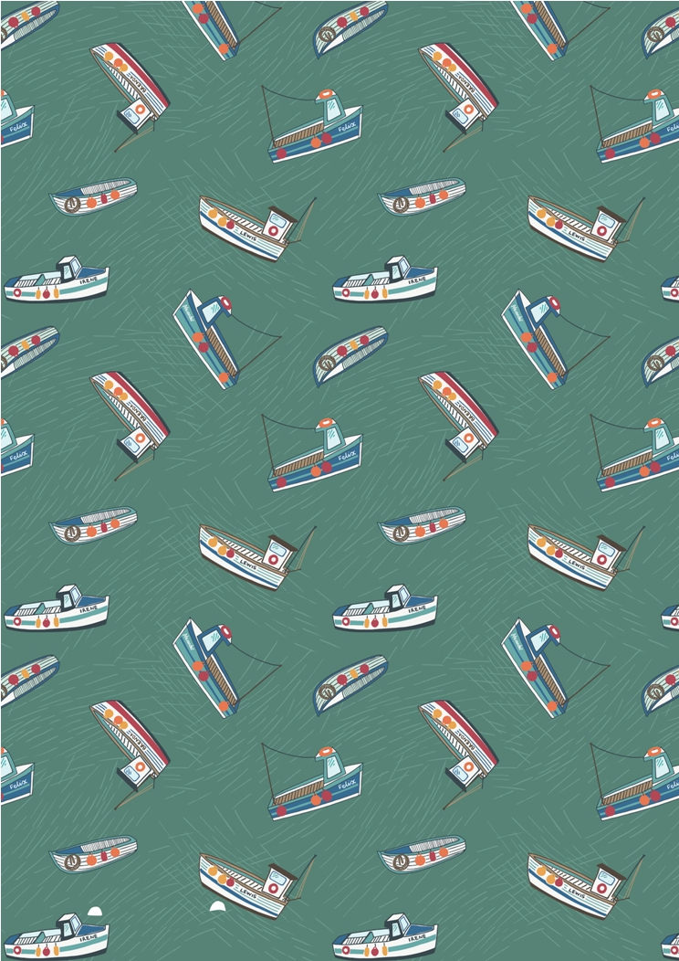 A178.2 - Fishing boats on sea green