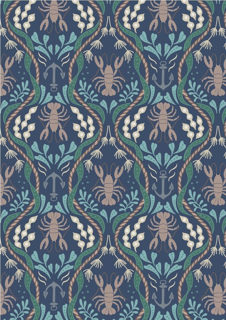 A179.3 - Lobster & anchor on navy blue
