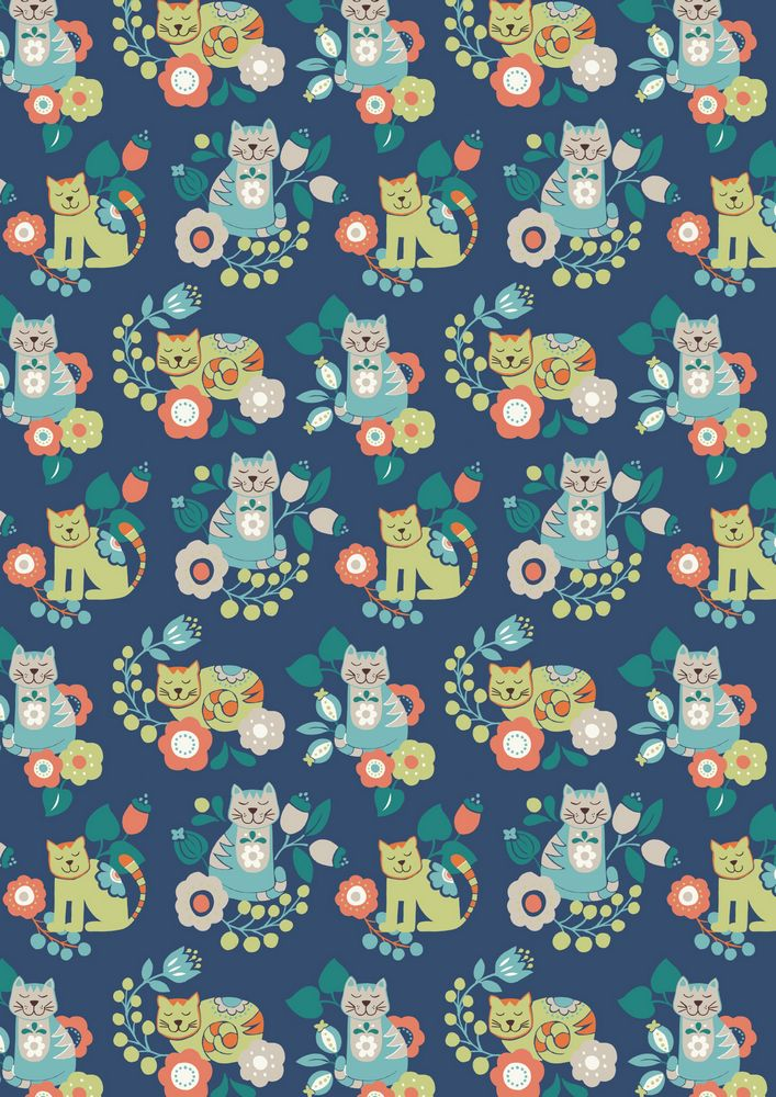 A107.3 - Contented cat Mitzi on dark blue