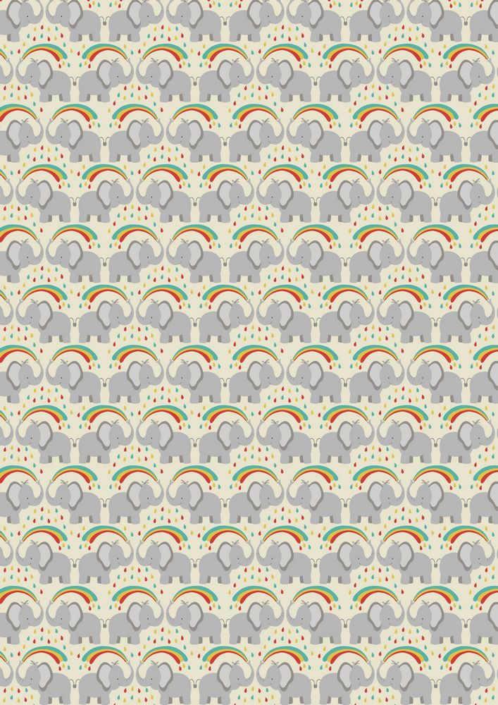 A53.1 - Rainbow splash elephant on cream