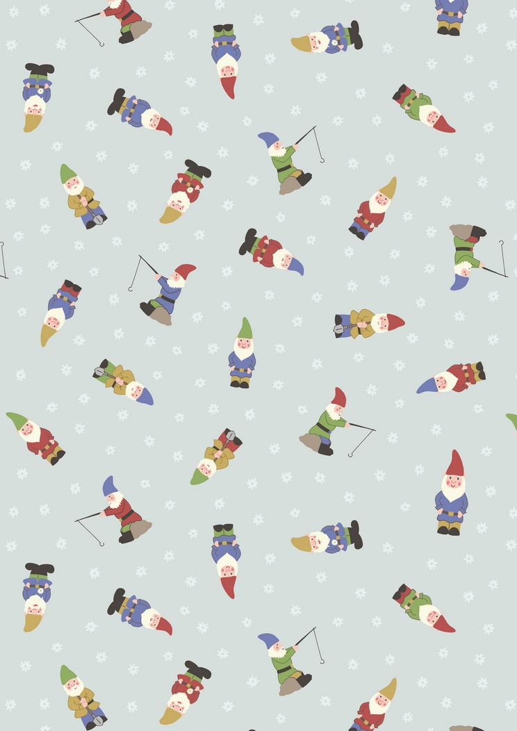 A199.2 - Garden gnomes on pale blue