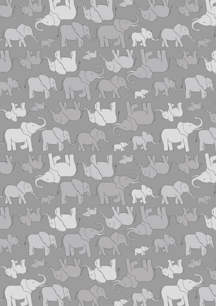 A216.3 - Marching elephant family grey on grey