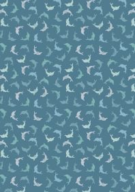 A257.3 -Twirling dolphins on dark blue