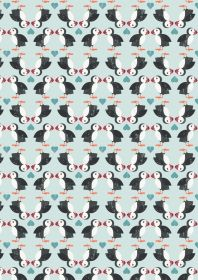 A258.2 - Puffin pairs on blue