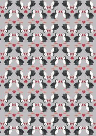 A258.3 - Puffin pairs on grey