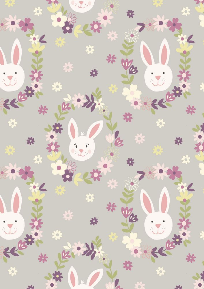 A146.2 - Bunny wreath on light grey
