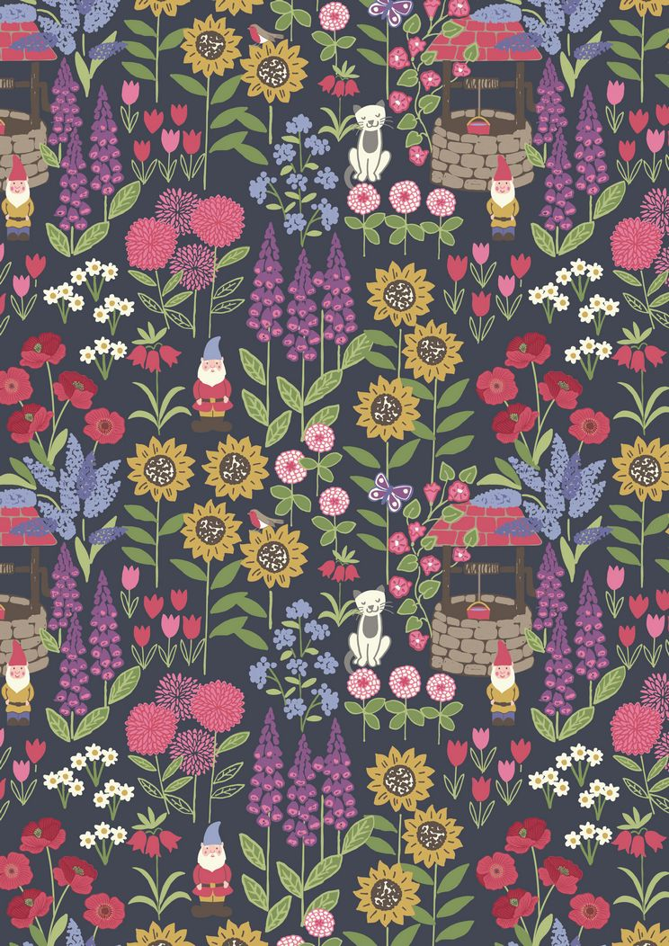 A195.3 - Grandma's garden on dark grey
