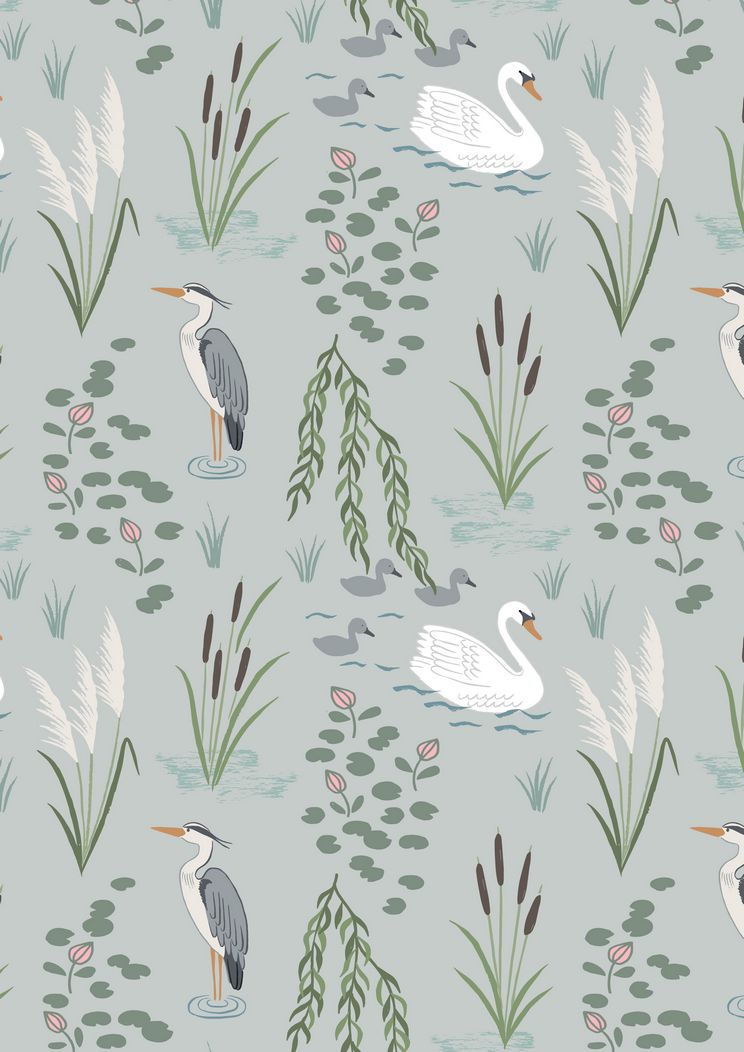 A220.1 - Swan and Heron on light grey