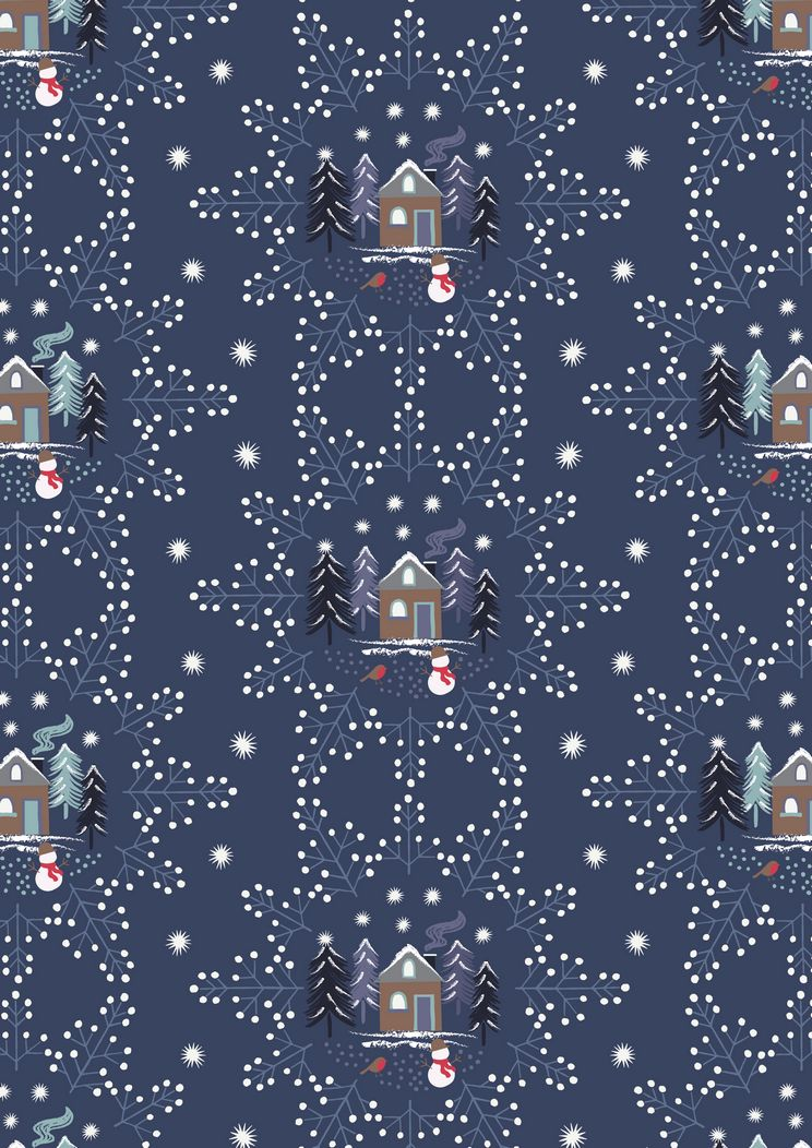 C16.3 - Midnight blue snowflake scene