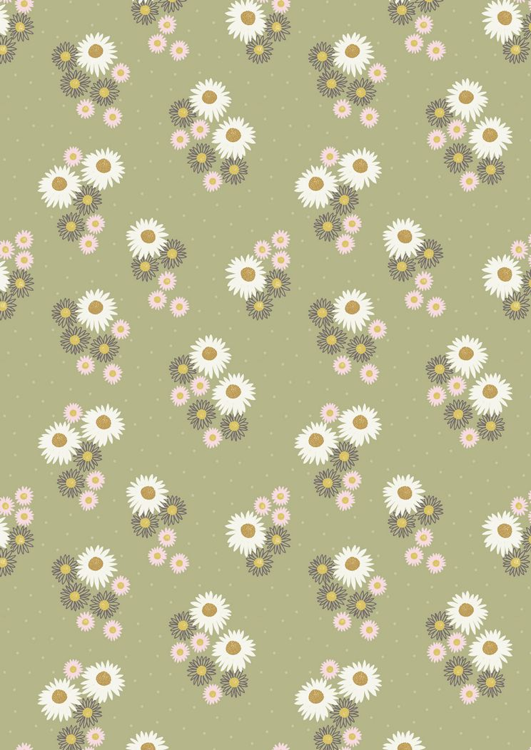 FLO12.4 - Daisies on sage green