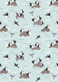 A256.1 - Puffin rocks on pale blue