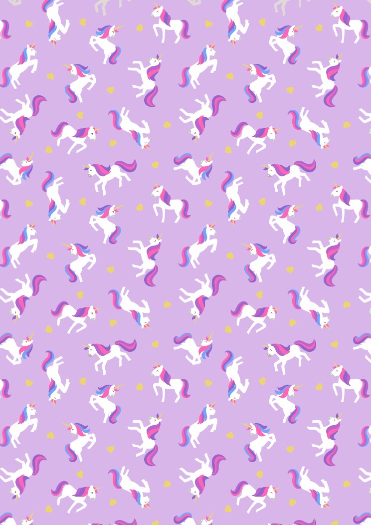SM6.3 - Unicorns on lavender (with gold metallic)
